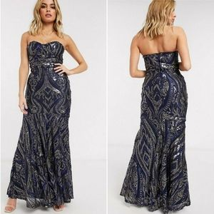 ⚡SALE⚡⭐NWT⭐ Asos - Club L Sequin Fishtail Gown